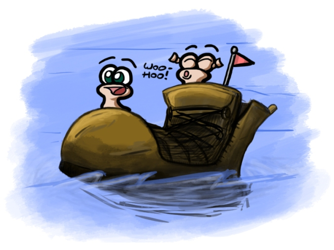 Worms sailing a shoe across the sea! Without a sail or a paddle, but still.